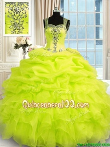 Deluxe Floor Length Yellow Green Quinceanera Gowns Straps Sleeveless Zipper