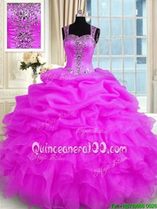 Fuchsia Straps Zipper Beading and Ruffles Sweet 16 Dresses Sleeveless