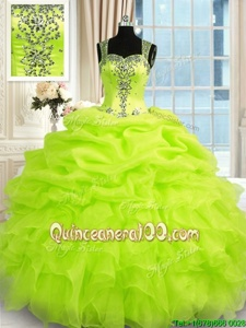 Sleeveless Organza Floor Length Zipper Quince Ball Gowns inSpring Green forSpring and Summer and Fall and Winter withBeading and Ruffles