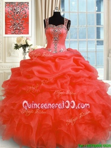 Classical Sleeveless Organza Floor Length Zipper Sweet 16 Dresses inOrange Red forSpring and Summer and Fall and Winter withBeading and Ruffles