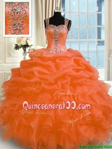 Straps Sleeveless Organza Ball Gown Prom Dress Appliques Zipper