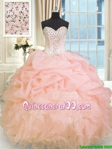 Great Floor Length Peach 15th Birthday Dress Sweetheart Sleeveless Lace Up