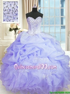 Beautiful Spring and Summer and Fall and Winter Organza Sleeveless Floor Length Quinceanera Gowns andBeading and Ruffles