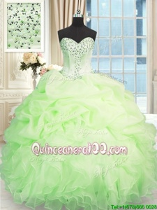 Romantic Apple Green Sleeveless Organza Lace Up 15th Birthday Dress forMilitary Ball and Sweet 16 and Quinceanera
