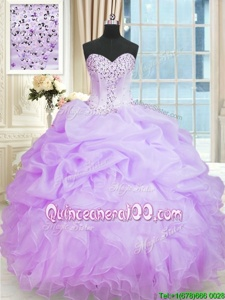 Lavender Ball Gowns Organza Sweetheart Sleeveless Beading and Ruffles Floor Length Lace Up Sweet 16 Dress