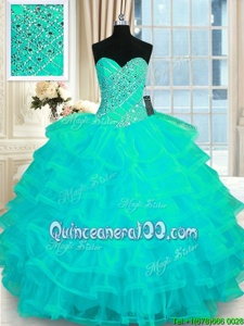 High End Floor Length Lace Up Ball Gown Prom Dress Turquoise and In forMilitary Ball and Sweet 16 and Quinceanera withBeading and Ruffled Layers