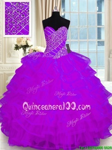 Comfortable Purple Sweetheart Lace Up Beading and Ruffled Layers Vestidos de Quinceanera Sleeveless