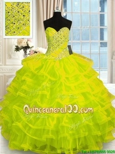 Beauteous Floor Length Yellow Green Quinceanera Dress Organza Sleeveless Spring and Summer and Fall and Winter Beading and Ruffled Layers