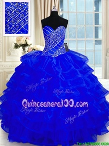 Modest Royal Blue Organza Lace Up Quinceanera Dress Sleeveless Floor Length Beading and Ruffled Layers