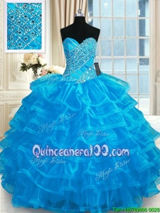 Captivating Ruffled Floor Length Blue Quinceanera Gowns Sweetheart Sleeveless Lace Up