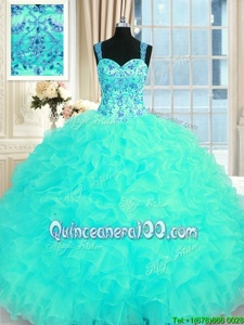 Chic Embroidery and Ruffles Quinceanera Dress Aqua Blue Lace Up Sleeveless Floor Length