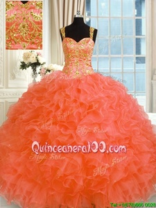 Edgy Floor Length Ball Gowns Sleeveless Orange Sweet 16 Quinceanera Dress Lace Up