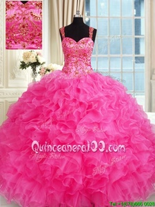 Cheap Hot Pink Lace Up Straps Embroidery and Ruffles Quinceanera Gown Organza Sleeveless