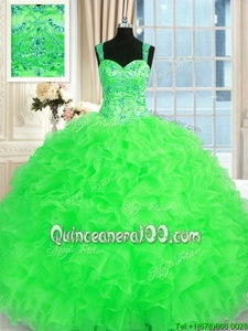Delicate Spring Green Straps Neckline Beading and Embroidery and Ruffles Quinceanera Gown Sleeveless Lace Up