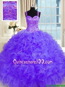 High End Purple Lace Up 15th Birthday Dress Beading and Embroidery and Ruffles Long Sleeves Floor Length
