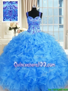Elegant Sweetheart Sleeveless Organza Quince Ball Gowns Beading and Embroidery and Ruffles Lace Up