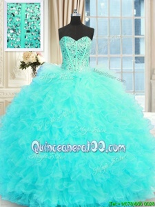 Cute Aqua Blue Ball Gowns Sweetheart Sleeveless Tulle Floor Length Lace Up Beading and Ruffles Sweet 16 Dress