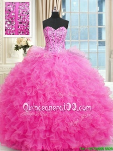 Tulle Sweetheart Sleeveless Lace Up Beading and Ruffles Sweet 16 Dresses inHot Pink