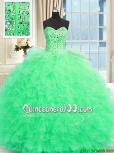 High Quality Apple Green Quinceanera Gown Military Ball and Sweet 16 and Quinceanera and For withBeading and Ruffles Sweetheart Sleeveless Lace Up