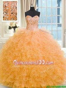 Best Floor Length Lace Up 15th Birthday Dress Orange and In forMilitary Ball and Sweet 16 and Quinceanera withBeading and Ruffles