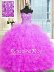 Beautiful Strapless Sleeveless Lace Up 15 Quinceanera Dress Lilac Tulle