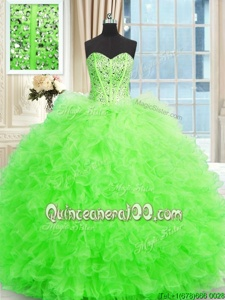 Edgy Spring Green Sleeveless Beading and Ruffles Floor Length Quinceanera Gown