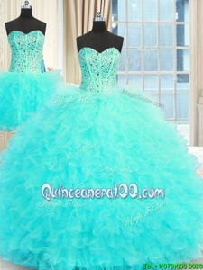 New Arrival Three Piece Floor Length Aqua Blue Sweet 16 Quinceanera Dress Strapless Sleeveless Lace Up