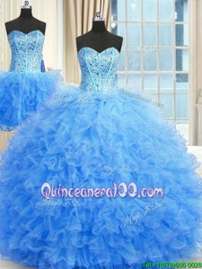 Clearance Three Piece Baby Blue Ball Gown Prom Dress Military Ball and Sweet 16 and Quinceanera and For withBeading and Ruffles Strapless Sleeveless Lace Up