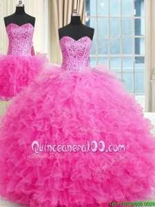 Three Piece Rose Pink Sleeveless Tulle Lace Up Quinceanera Gowns forMilitary Ball and Sweet 16 and Quinceanera