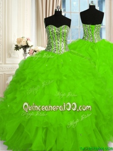 Beauteous Ball Gowns Quinceanera Dress Spring Green Sweetheart Organza Sleeveless Floor Length Lace Up