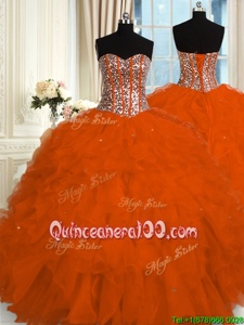 High Quality Orange Red Sweetheart Neckline Beading and Ruffles Quinceanera Gowns Sleeveless Lace Up