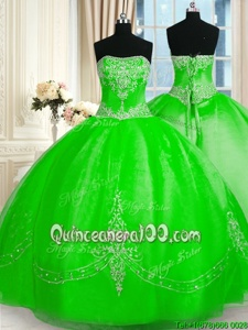 Dynamic Spring Green Quinceanera Gown Military Ball and Sweet 16 and Quinceanera and For withBeading and Embroidery Strapless Sleeveless Lace Up