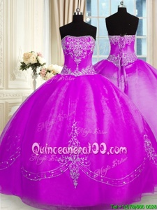 Dramatic Purple Ball Gowns Organza Strapless Sleeveless Beading and Embroidery Floor Length Lace Up Sweet 16 Quinceanera Dress