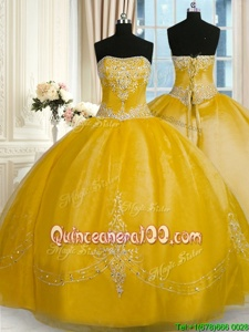 Designer Yellow Organza Lace Up Strapless Sleeveless Floor Length Quinceanera Gown Beading and Embroidery