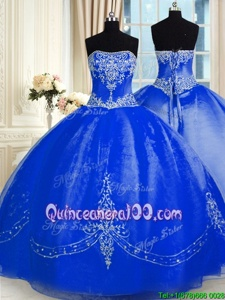 Custom Design Sleeveless Floor Length Beading and Embroidery Lace Up Sweet 16 Dresses with Royal Blue