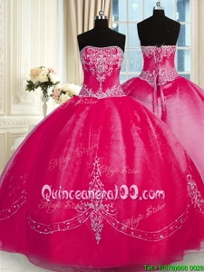 Chic Fuchsia Strapless Neckline Beading and Embroidery Sweet 16 Dress Sleeveless Lace Up