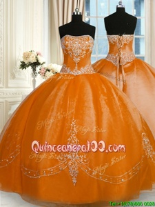Attractive Strapless Sleeveless Quinceanera Dress Floor Length Beading and Embroidery Gold Organza