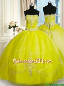 Custom Fit Sleeveless Lace Up Floor Length Beading and Embroidery Quinceanera Dresses