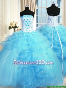 Flare Tulle Strapless Sleeveless Lace Up Pick Ups and Hand Made Flower 15th Birthday Dress inBaby Blue