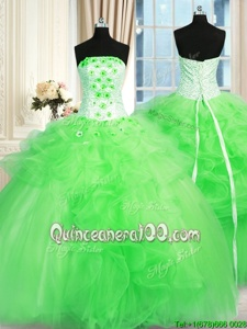 Spring Green Ball Gowns Strapless Sleeveless Tulle Floor Length Lace Up Pick Ups and Hand Made Flower Quinceanera Gowns