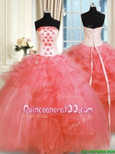 Cheap Floor Length Watermelon Red Quinceanera Gown Tulle Sleeveless Spring and Summer and Fall and Winter Pick Ups and Hand Made Flower