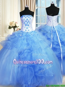 Graceful Strapless Sleeveless Tulle Quinceanera Dress Pick Ups and Hand Made Flower Lace Up