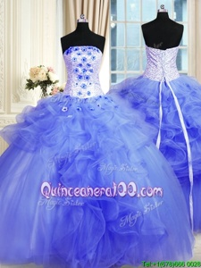 Adorable Lavender Ball Gowns Pick Ups and Hand Made Flower Sweet 16 Quinceanera Dress Lace Up Tulle Sleeveless Floor Length