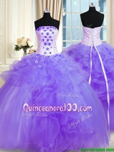 Modern Pick Ups Ball Gowns Quinceanera Gown Lavender Strapless Tulle Sleeveless Floor Length Lace Up