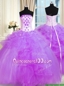 Floor Length Lace Up Sweet 16 Dress Purple and In forMilitary Ball and Sweet 16 and Quinceanera withPick Ups and Hand Made Flower