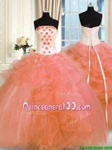 Superior Spring and Summer and Fall and Winter Tulle Sleeveless Floor Length 15 Quinceanera Dress andPick Ups and Hand Made Flower