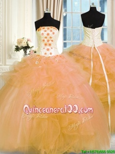 New Arrival Floor Length Gold Quinceanera Dress Strapless Sleeveless Lace Up