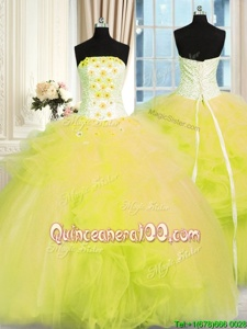 Comfortable Yellow Green Ball Gowns Beading and Ruffles Vestidos de Quinceanera Lace Up Tulle Sleeveless Floor Length