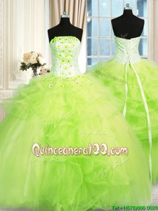 Deluxe Strapless Sleeveless Sweet 16 Quinceanera Dress Floor Length Beading and Ruffles Spring Green Tulle