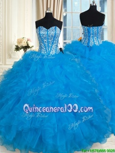 Inexpensive Baby Blue Sleeveless Floor Length Beading and Ruffles Lace Up 15th Birthday Dress
